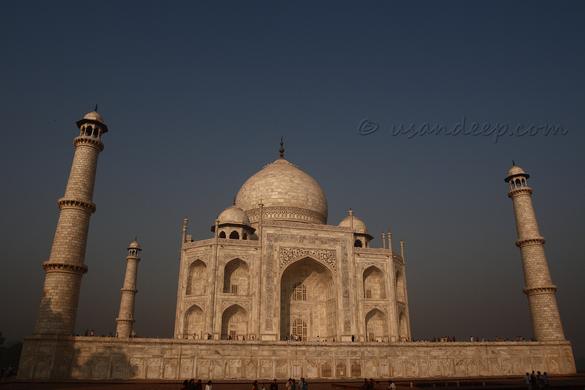 Taj Mahal with its three pillars ...