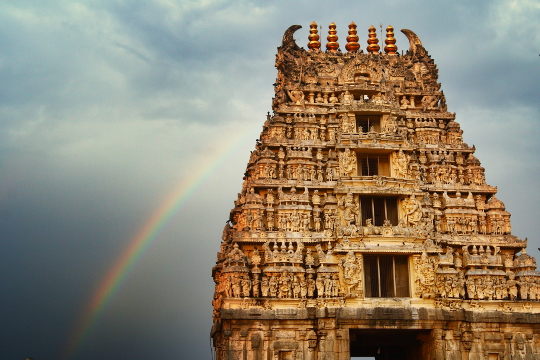 Rainbow at Chennakeshava Temple, Belur