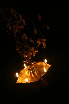 Vishu lamp with flowers