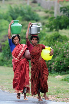Women fetching water near Gundulpet