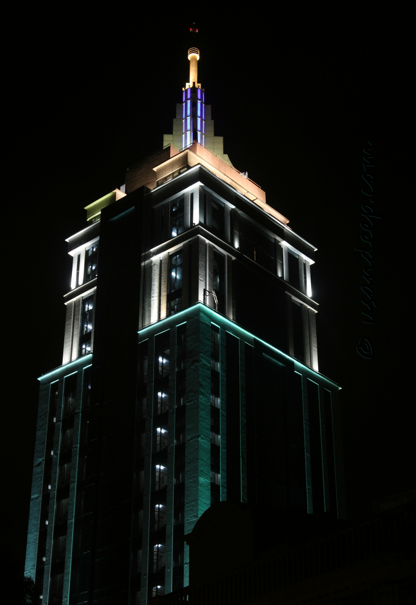 UB tower at night